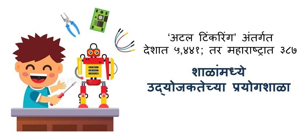 'अटल टिंकरिंग' अंतर्गत देशात ५,४४१; तर महाराष्ट्रात ३८७ शाळांमध्ये उद्योजकतेच्या प्रयोगशाळा